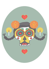 Sugar skull with decorations in mexican style. Vector drawing of sugar skull for day of dead or halloween.