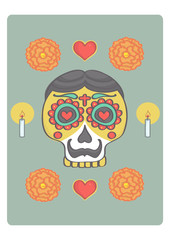 Colorful sugar skull for halloween or mexican day of the dead. Vector illustration of male skull with mexican style decorations.
