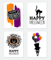 Vector set of halloween greeting cards.