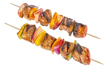 Skewer set of red meat and vegetables, isolated on white background.