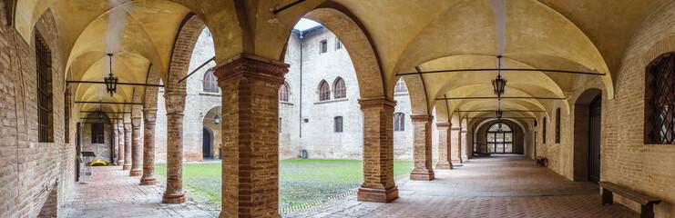 Colonnade inside old castle of Rocca Sanvitale in Fontanellato, Emilia Romagna region, Italy.