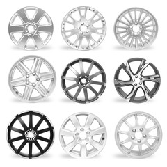 Set of 9 isolated car rims on white background