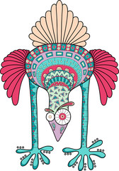 Crazy ostrich with doodle pattern, cartoon vector illustration