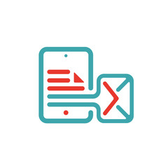 Outgoing mail icon on tablet laptop vector illustration.