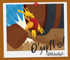 Souvenir Picture of Oktoberfest O'zapft or Tapping First Barrel Moment, Vector Illustration