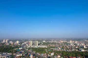 Clear blue sky as a background wallpaper, pastel sky wallpaper, with city scape