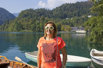 Happy woman in Bled ,Slovenia