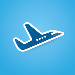 Icon of airplane, plane on blue background vector illustration.