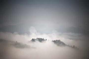 Autumn foggy mountain scene. Fall rain and mist