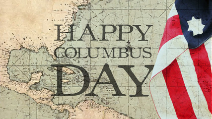 Happy Columbus Day. Usa Flag and Nautical Chart.