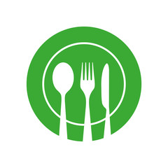Plate with Spoon Knife and Fork Vector Icon.
