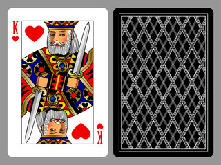 King of Hearts playing card and the backside background
