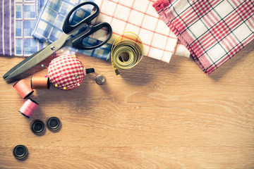 Sewing kit on table