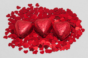 Wrapped Red Chocolate with Hearts