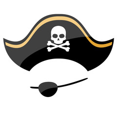 Pirate hat with eye patch isolated on white background