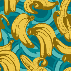 Seamless pattern with banana in retro style