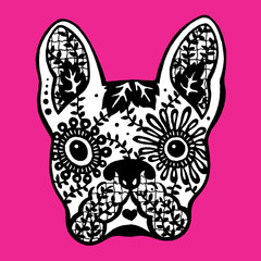 french bulldog sugar skull, frenchie cute dog day of the dead