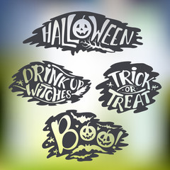 Happy Halloween Calligraphy backgrounds. Vector  banner