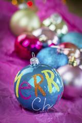 Close Up of Festive Christmas Balls
