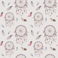 Dreamcatcher and feather pattern. Watercolor bohemian decoration