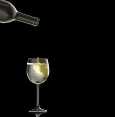 white wine pouring on black background