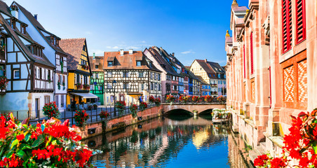 Beautiful view of colorful romantic city Colmar, France, Alsace Fototapete