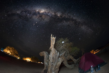 Camping under starry sky and Milky Way arc, with details of its colorful core, outstandingly bright, captured in Southern Africa. Tent and Acacia trunk in the foreground. Adventure into the wild.