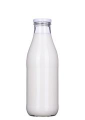Flasche Milch isoliert mit Beschneidungspfad, clipping path