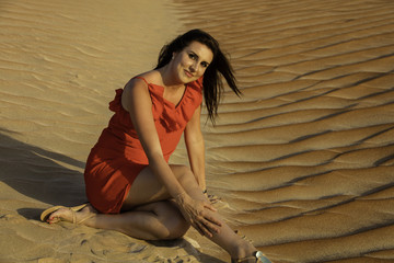 Model in the desert of Empty Quoter aka Rub al'Khali
