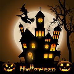 Halloween,летящая ведьма на метле на фоне замка освещенного луной