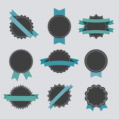 Set of retro badges and labels with ribbons