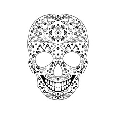 Vector monochrome contour skull ornament