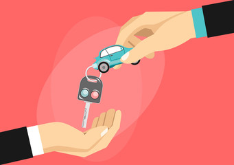 Hand giving car keys to another hand. Flat design