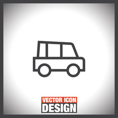 Car line vector icon. Automobile transport sign. Traffic symbol.