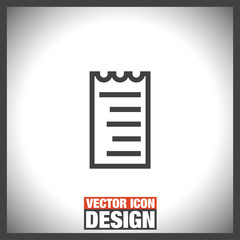 Receipt line vector icon. Bill sign. Pay document pictograph. Business invoice symbol.