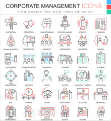 Vector Corporate managment ultra modern color outline line icons for apps and web design.