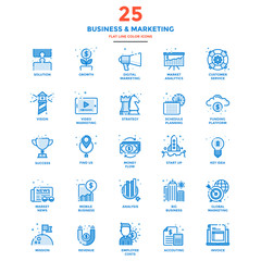 Modern Flat Line Color Icons- Business and Marketing