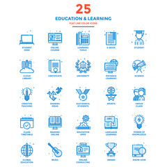 Modern Flat Line Color Icons- Education and Learning