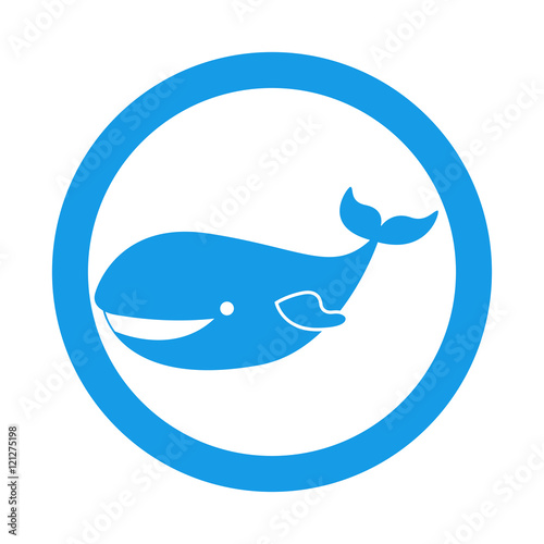 Icono plano ballena en circulo color azul\
