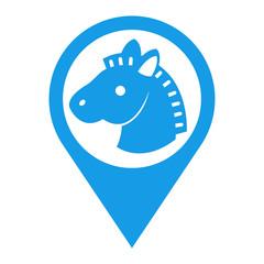 Icono plano localizacion cabeza de caballo azul