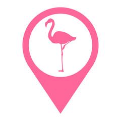 Icono plano localizacion flamenco rosa