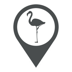 Icono plano localizacion flamenco gris