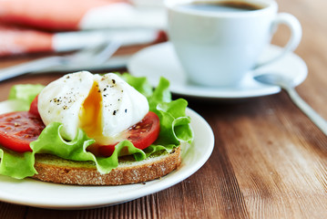 poached egg and coffee