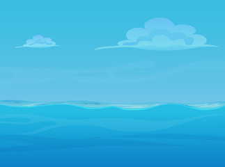 Water ocean sea landscape with sky and clouds. Vector game style illustration. Background for games.