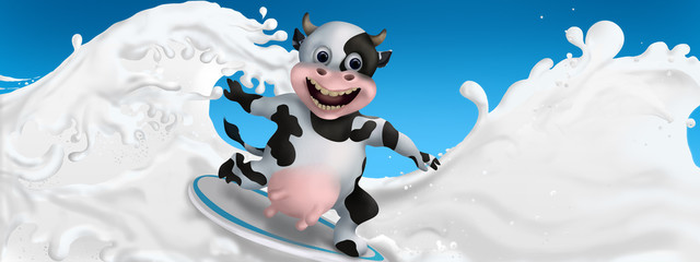 Cow surfs on the milk