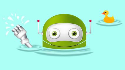 Green robot character