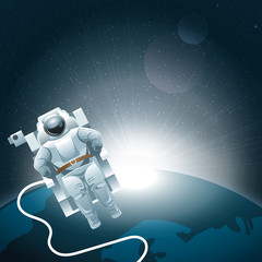 Digital vector planet earth icon with white light and an astronaut moving in space, over stelar background, flat style.