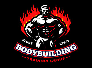 Bodybuilder emblem illustration on dark background