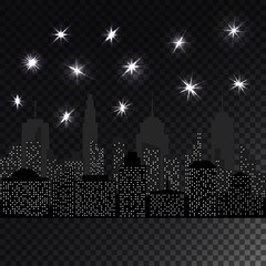 Night cityscape with glowing light stars