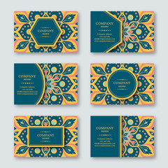 Set of ornamental hand drawn mandala cards, business, visiting template.Vintage decorative style. Indian, asian, arabic, islamic, ottoman motif. Vector illustration.